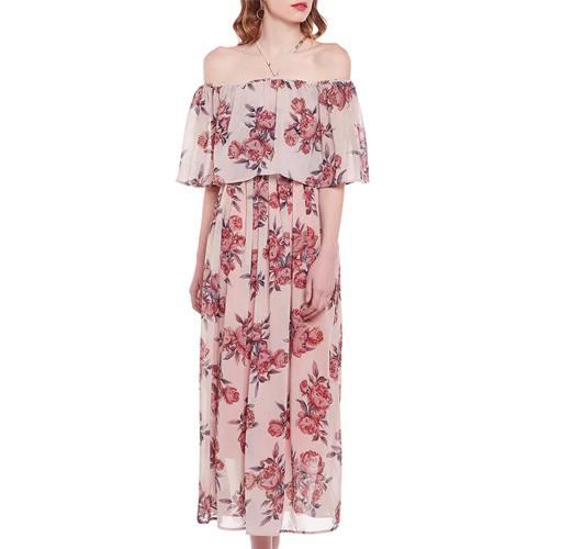 Pink Georgette Off Shoulder Dress