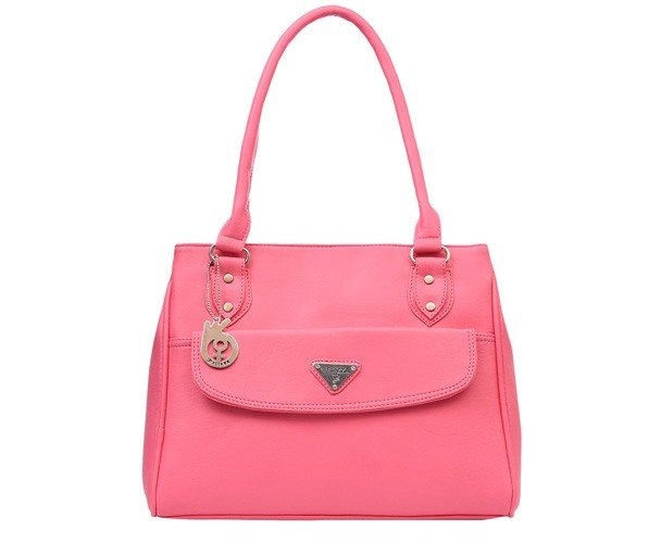 Pink Leatherette Regular Handbag
