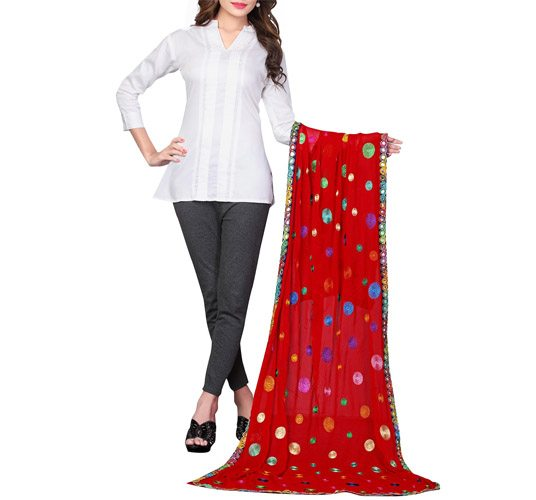 Red Chiffon Embroidered Phulkari Dupatta