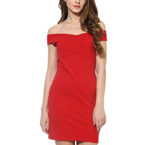 Red Coloured Solid Off Shoulder