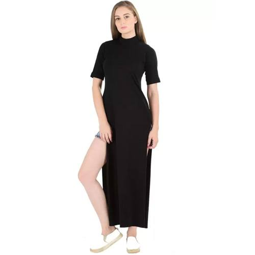 Sassy Stripes Women's Maxi Black Dress