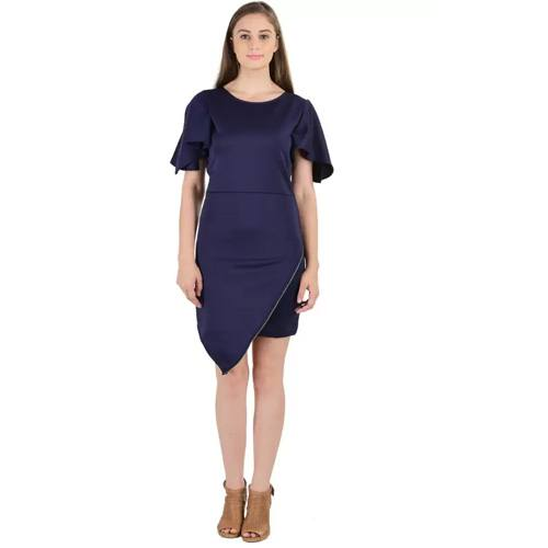 Sassy Stripes Women's Sheath Blue Dress