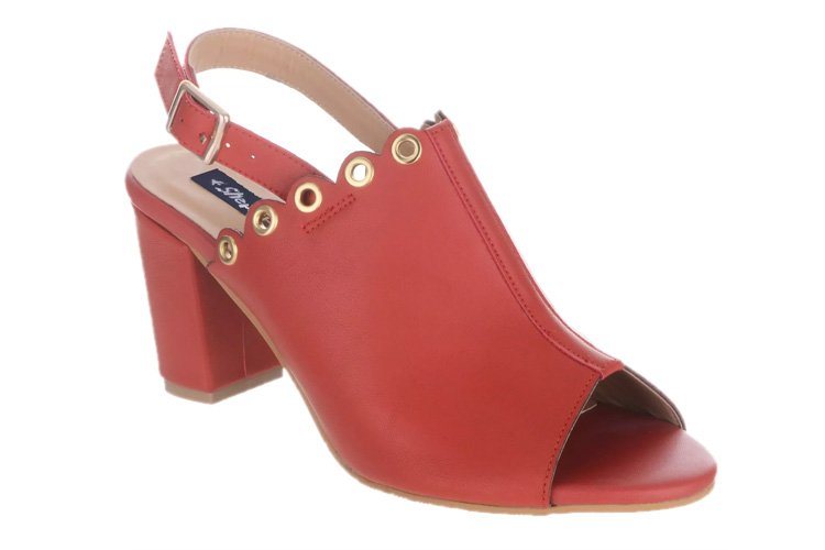 Sherrif Shoes Red Block Heels