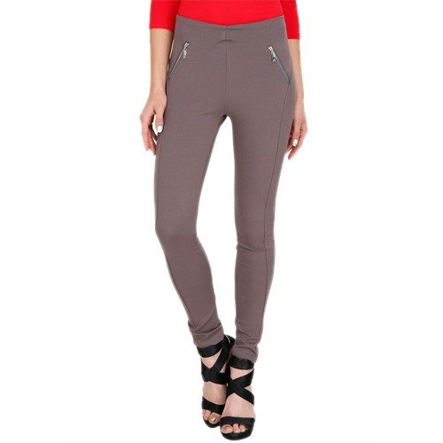 Womens Grey Solid Jeggings