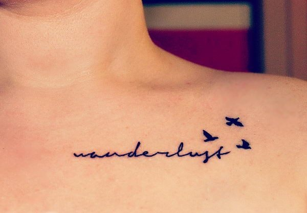 Birds And Stylish Letters Collarbone Tattoo Idea