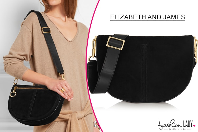 Elizabeth and James Scott Moon Small Suede Shoulder Bag