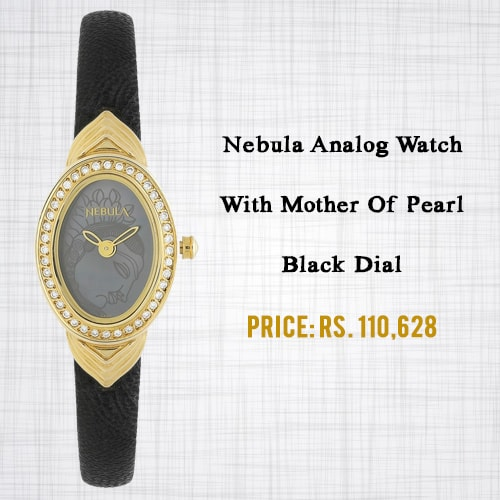 Nebula Analog Watch With Mother Of Pearl Black Dial