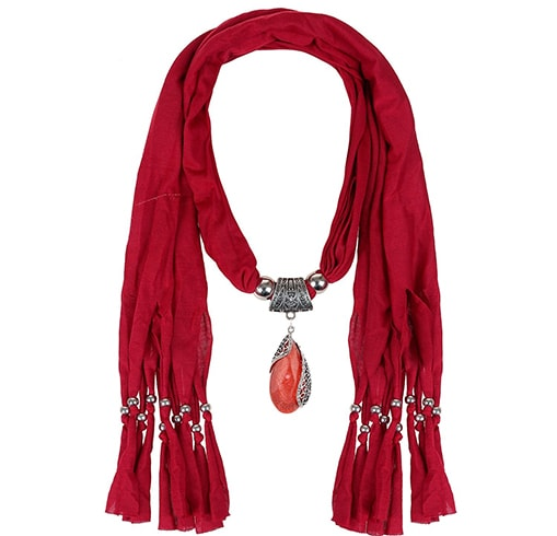 Pendant Scarf Necklace with Ruby Stone