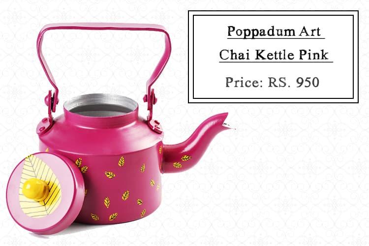 Poppadum Art Chai Kettle Pink