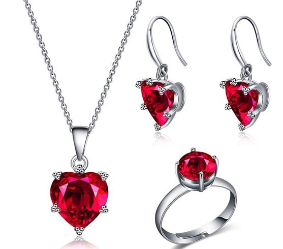 Red Heart White Gold Plated Ring Earring And Necklace Jewelry Set