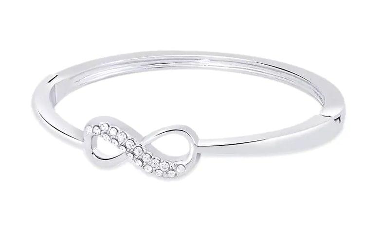 Silver Crystal Studded Metal Bracelet