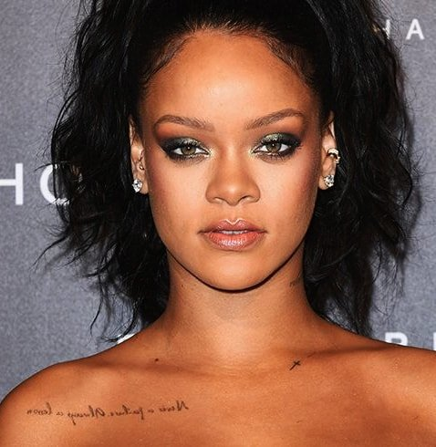 Singer Rihanna Collarbone Tattoo