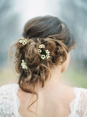 Tousled Updo With Fresh Flowers