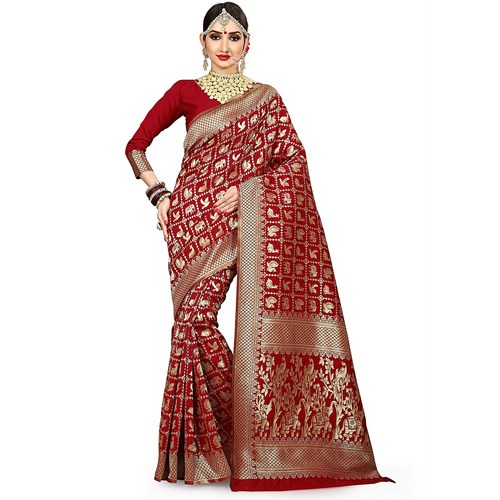 Bridal Red Saree With Blouse Piece
