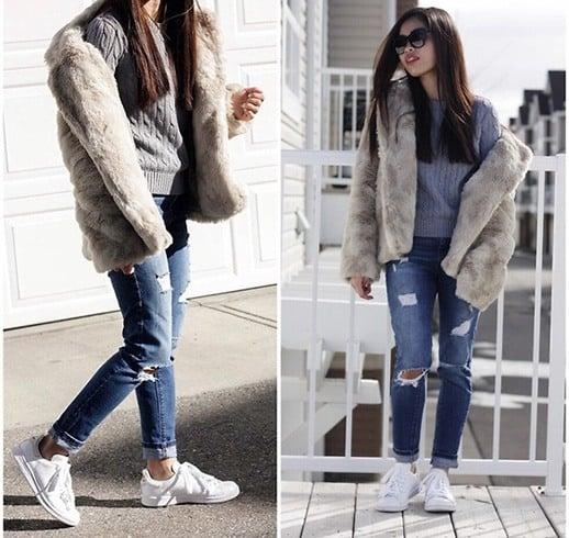 CroppedFauxFur Coat Girls