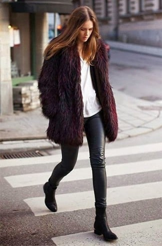 Cropped Faux Fur Coat Womens