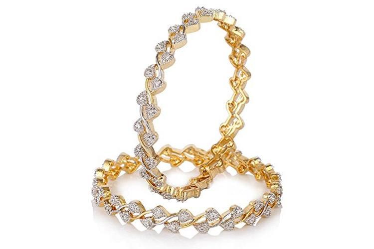Diamond Gold Plated Bangles For Women