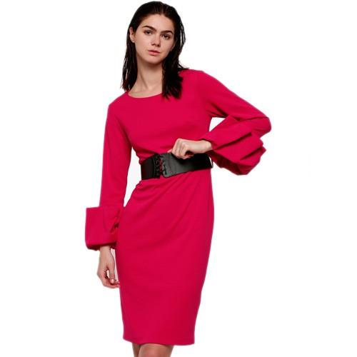 Fuchsia Solid Shift Dress With Belt