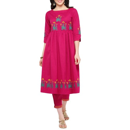 Fushcia Cotton Block Print Kurta And Pant Set