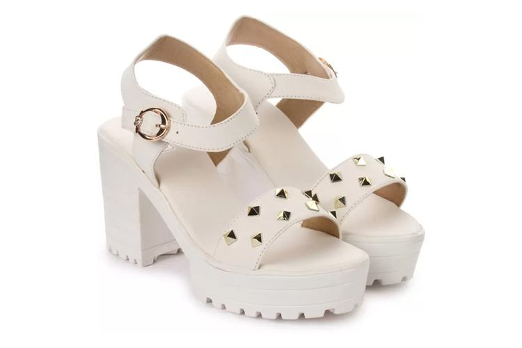 London Steps Women White Wedges