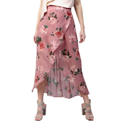 Peach Printed Tulip Skirt
