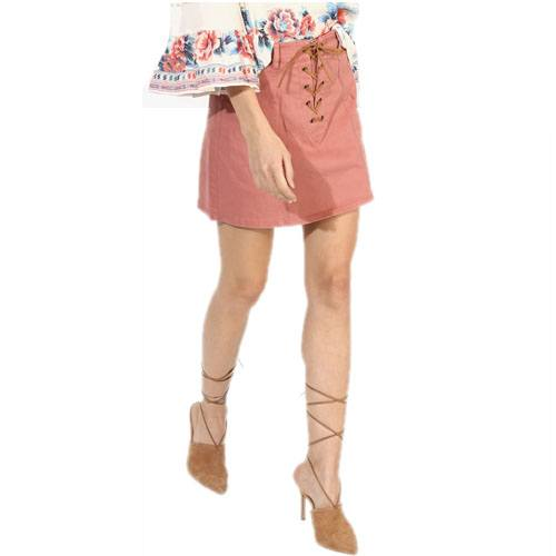 Peach Solid A-Line Skirt