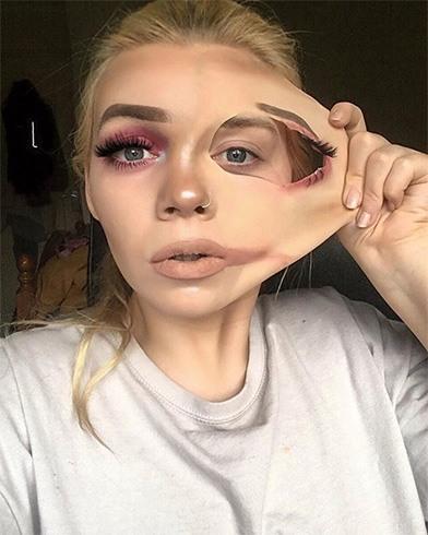 Pulled-skin Makeup