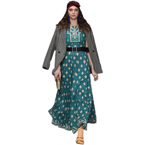 Turquoise Printed Maxi Dress