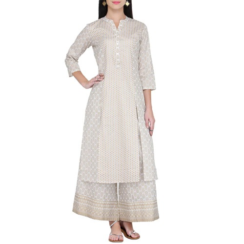 White And Gold Printed Kurta And Palazzo Set