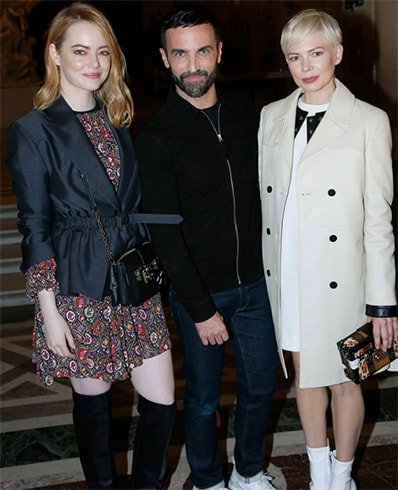 Emma Stone with Nicolas Ghesquiere and Michelle Wiliams
