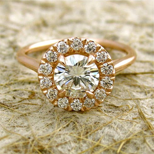 Moissanite Engagement Ring with Diamonds
