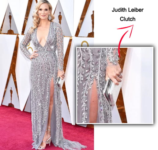 Molly Sims with a Judith Leiber clutch