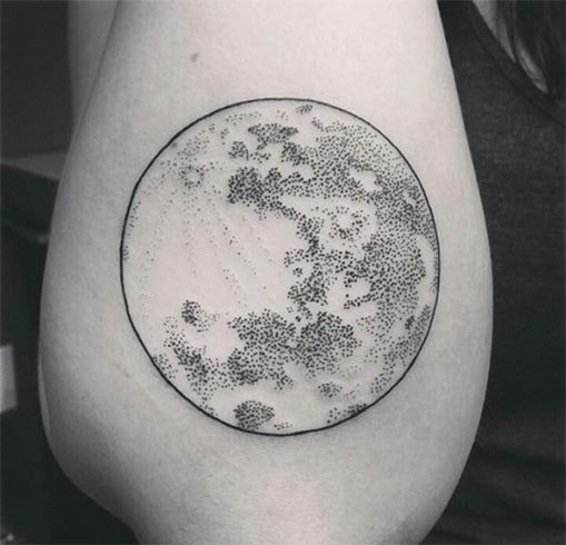 Moon Dot-Work Tattoo