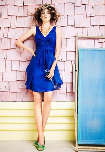 Royal Blue Dress With Green Shoes
