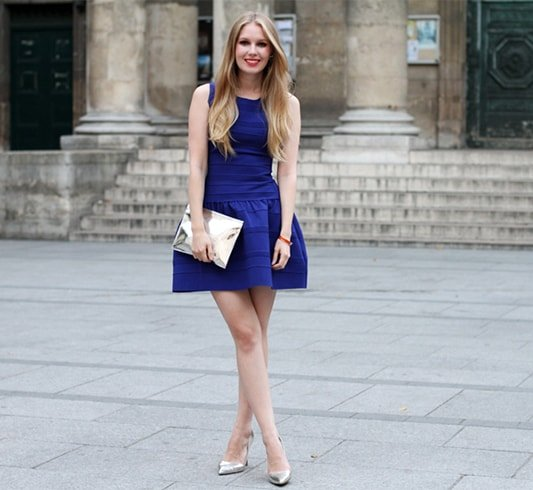 Royal Blue Dress With Silver Shoes