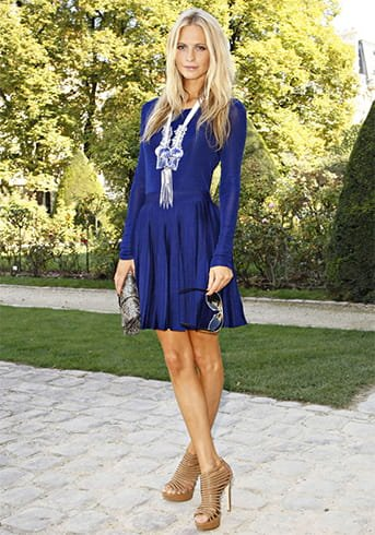 Royal Blue Dress With Tan Shoes