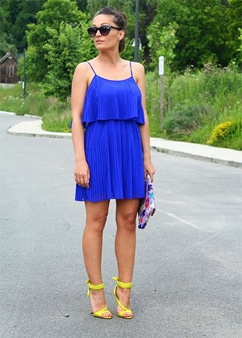 Royal Blue Dress With Yellow Shoes