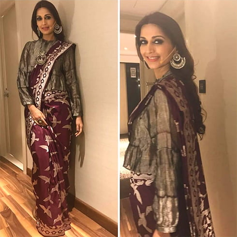 Sonali Bendre in Mint n Oranges Sari