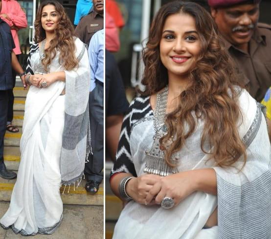 Vidya Balan Handloom Saree Fashion