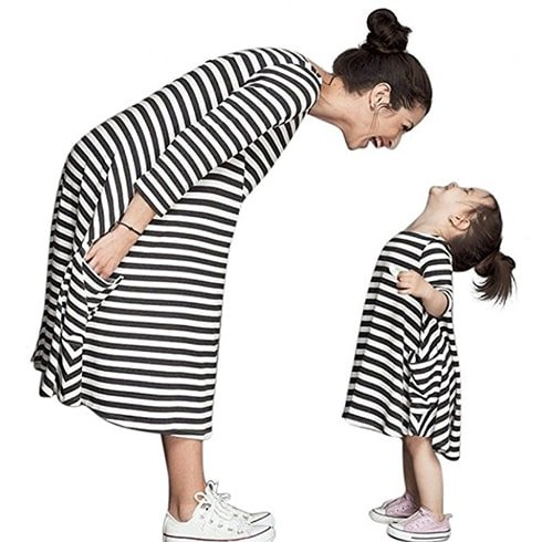 Striped Mother and Daughter Casual Dresses