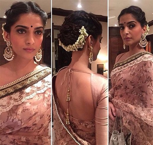 Sonam Kapoor in Half Moon Hairstyle with Gajra