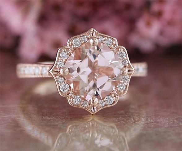 Vintage Floral Pink Ring