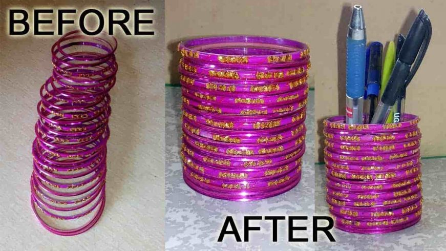 DIY Pen Stand Using Old Bangles