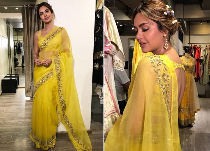 Esha Gupta in yellow saree