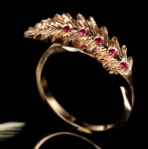 Feather Ruby Ring