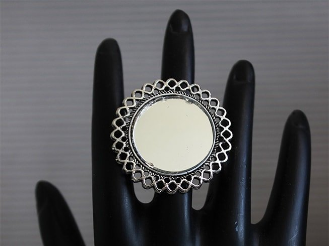 Oxidized Silver Mirror Ring