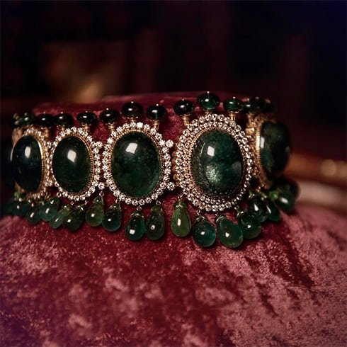 Sabyasachi Emerald Diamond Choker