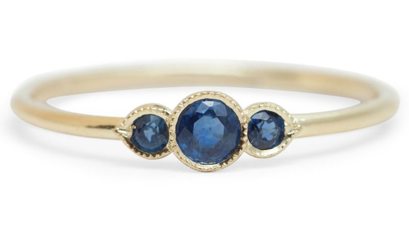 Three Pronged Sapphire Ring
