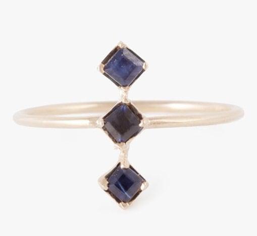 Tri Blue Sapphire Ring