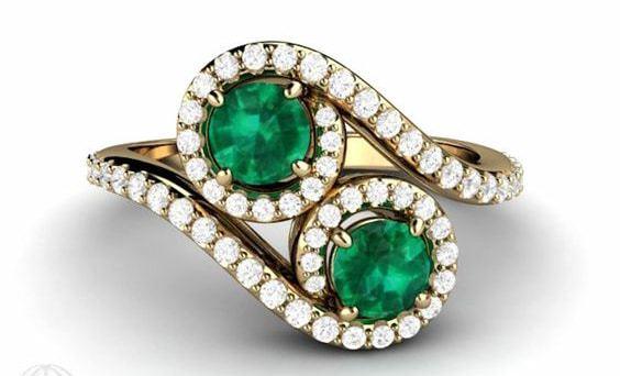 2 Stone Emerald Ring